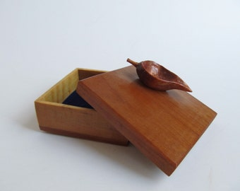 Wood Box Jewelry Box Leaf Jewelry Box, Hand Made Hand Carved Birthday Gift, Anniversary Gift, For Nature Lover, Trees, Trinket Box