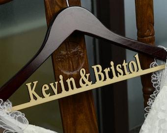 Personalized Rustic Wedding Dress Hanger, New-tech Bride Bridesmaid Wood Name Hanger, Custom Wedding Bridal Hanger, Bridal Shower Gift CM002