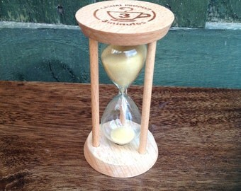 TEA TimerHourglass Sand Timer Natural Wood 3 minutes