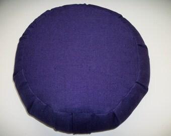 Meditation Cushion. Zafu. Round Floor Pillow. UNFILLED Cover. Purple Linen blend fabric. Sidewall Zipper. Handmade, USA