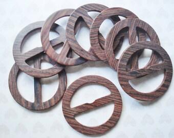 Vintage Buckles - Assorted  Wood Grain Belt Buckles - 4 Brown Faux Wood Buckles - Brown Scarf Slides