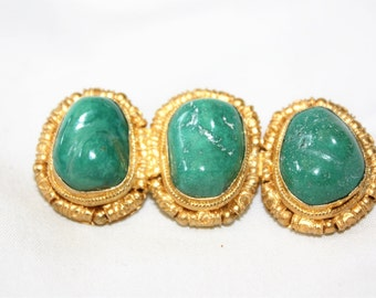 Vintage Brooch Jade, Sterling Asian Brooch, Gold Vermeil Jade, Chunky Jade Brooch, 1950s Jewelry