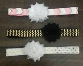 10% OFF, Set of 3 Single Chiffon Flowers , Baby Headbands, Adult Headband, Headband, Photo Prop, Headband, Baby Bows, Flower Headbands