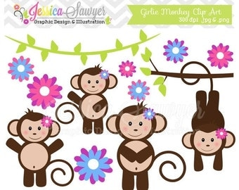 80% OFF - INSTANT DOWNLOAD,  girl monkey clip art - jungle clipart - girls birthday graphic - branches image - commercial use - party supply