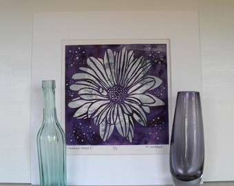 Lilac and Pink Daisy Flower Botanical Linocut Monoprint hand made print