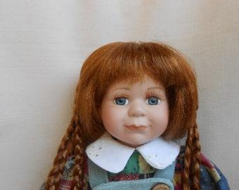 Porcelain doll, vintage 11 inch doll, little vintage porcelain doll, collectible doll.
