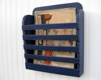 Small Rustic Distressed Sanded Royal Cobalt Indigo Blue Hanging Magazine Menu Holder  Vintage Design Storage Organizer Antiqued Shabby