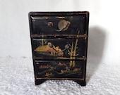 Vintage Japan Black Lacquer Box Dresser Chest of Drawers MM
