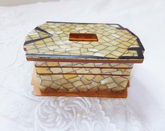 Vintage Hair Receiver Art Deco Celluloid Vanity Box