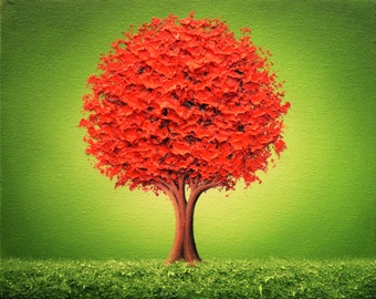 LIMITED Edition Art Print of Textured Red Tree Painting, Red and Green Wall Art, Contemporary Landscape Print, Signed & Numbered by Artist