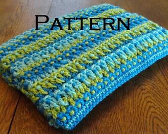 Crochet PATTERN Summer Skies Baby Blanket Afghan Boy Blue Green DIY