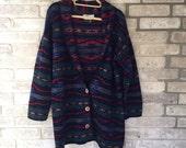 REI Navajo aztec oversized wool  boyfriend blazer jacket sz medium