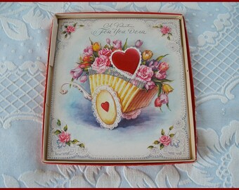 Vintage Valentine's Day Card Unused, Large, In Mailing Box