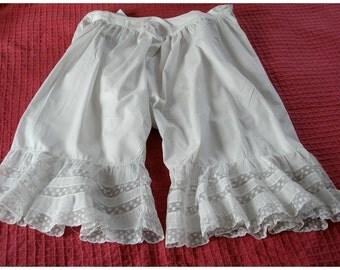 Vintage Victorian Bloomer Split Bloomers Vintage Undergarment Cotton Lace