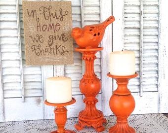 Orange Bird Theme Candle Holders - Set of 3 Table Top Decor - Pillar Candle Holder - Fall Cottage Chic Decor - Orange Mantel Decor
