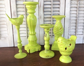 Lime Bird Theme Pedestal Candle Holder Grouping, PIllar & Tea Light Holders, Lime Table Top Candle Holder - Cottage Chic Candle Holders