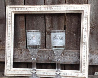 Angel Votive Cup Holders on Glass Pedestals - White Angels