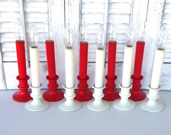 Red & White Candeliers -Set of 10 Flameless Candlesticks - Table Top Battery Operated Lights