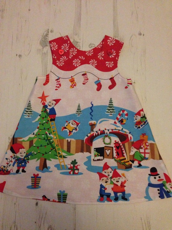 Girls christmas dress age 18 24 months a line christmas gnomeville