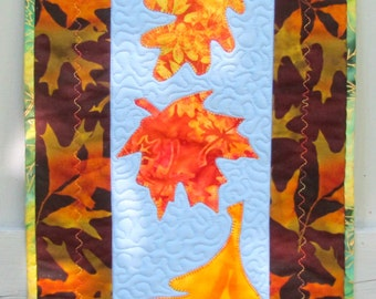 Fall Quilt Wall Hanging Autumn Door Decoration Table Topper Leaves