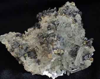 Mineral Specimen - Quartz, Pyrite, Galena crystals - The September Mine, Madan, Smolyan Oblast, Bulgaria - nearearthexploration