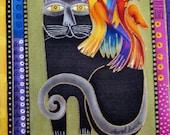 "Cat Bird 6"" Iron On Patch Applique"