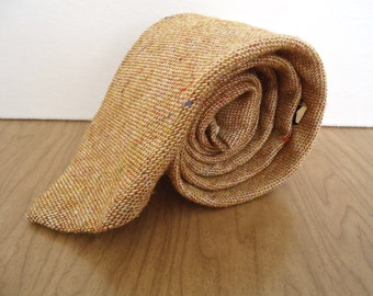 Vintage Tweed Necktie / men's tan brown wool necktie