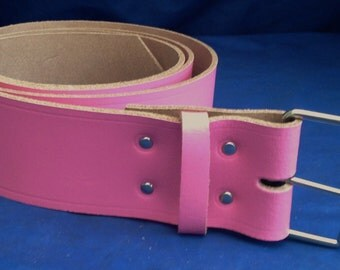 """Pink Leather Belt 2"""" Wide (50mm) with Choice of Buckle and Sizes Handmade Real Leather"""