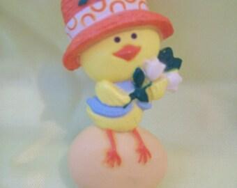 Vintage Easter Pin Hallmark Lapel Pin Plastic Chick Sitting On Egg circa 1975