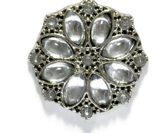 Clear Rhinestone Snap Button For Snap Jewelry