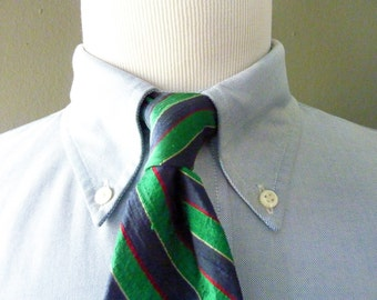 "Vintage Resilio 100% ""Nubby - Slubby"" Silk Multicolored Green Repp Striped Trad / Ivy League Neck Tie.  Made in USA."