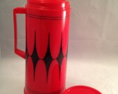 Vintage Vanguard Red and Black Aladdin Pint Thermos with Coffee Cup- Great for Glamping