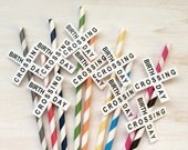 12 Train Party Straws - Railroad Crossing Straws OR Birthday Crossing Straws - Train Party Drink Paper Straws - Your choice of colors!