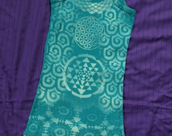 ON SALE // Ethereal Mermaid Sacred Soul Tank Top // XS Small // Blue // flower of Life // Om // Sri Yantra