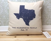 Texas State Pillow Cover Personalized with Your Family Name, Hometown and State Name