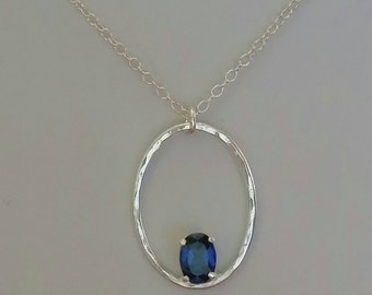 Sterling silver necklace sapphire stone oval necklace  precious metals fashion jewelry