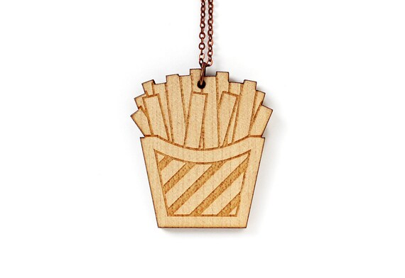 Fries necklace - fast food pendant - lasercut maple wood - kitsch illustrated jewelry - funny jewellery - wooden graphic accessory - offbeat