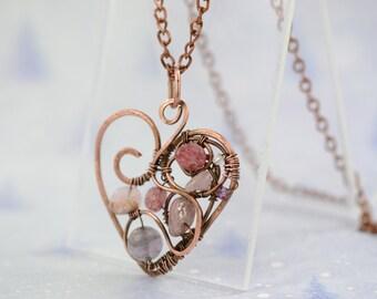 Copper Wire Wrapped Pendant Heart Pendant Wired Copper Jewelry Heart Wire Wrapped Pendant Modern Pendant Rustic Heart Pendant Love Pendant
