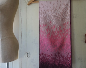 Vintage 1970s polyester scarf abstract wheat stalks pinks and mauves disco era  10 x 46 inches