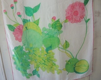 Vintage 1950s scarf silk and rayon floral and fruit  31 x 31 inches