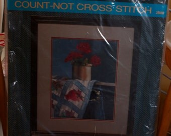 Sunset Designs Count-Not Cross Stitch Kit, Unopened Vintage Cross Stitch Kit, Geraniums Cross Stitch Kit, Copyright 1987