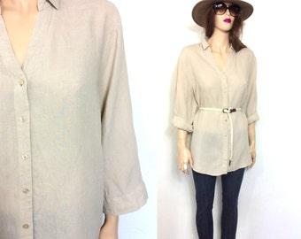 90's Blouse Minimalist Blouse Linen Blouse Linen Shirt Tunic Slouchy Boho Oversize Blouse 80s Blouse Clothing Tan Taupe Ecru Khaki XL large