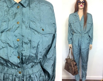 RARE Authentic Abraxas Parachute Pants Jumpsuit Jumper 80's Romper Blue Green One Piece Onesie Jumper Small Hip Hop Hipster Disco Clothing