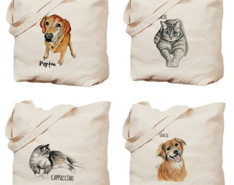 Custom pet portrait tote bag. Your pet on a tote bag. Custom pet portrait.Pet portrait from your photo. Gift idea for her. Valentine's gift!