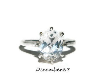 White Sapphire Ring, Sterling Silver, 3 Carat Stone