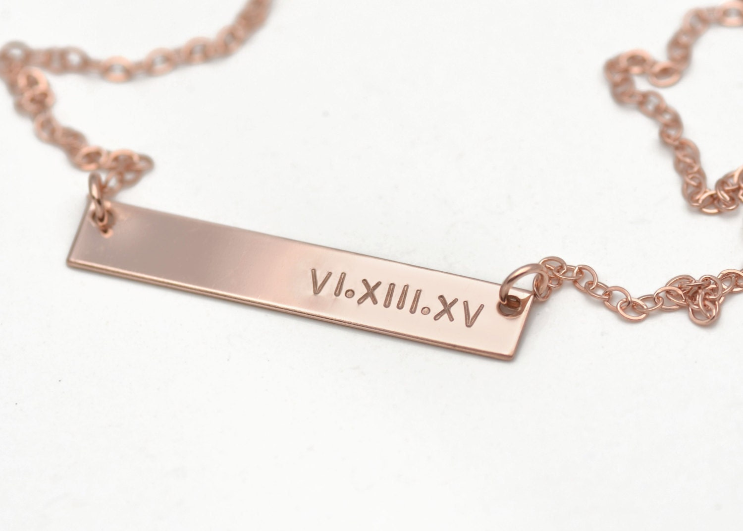 Rose gold bar necklace personalized name for Rose gold personalized jewelry