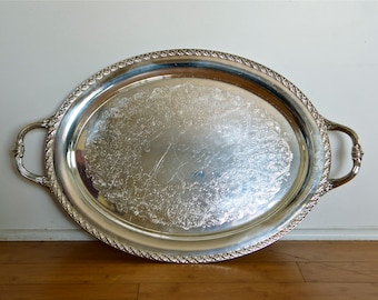 Large vintage silver plate tray with handles…Shabby Chic waiter tray…International Silver Co...has wear...see photos.
