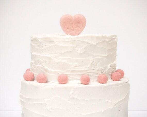Heart Wedding Cake Topper - Needle Felted Heart Wedding Cake Topper - Pink Unique Country Wedding Cake Topper
