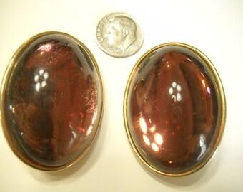 Vintage Large Oval Lavenderish/Purple Silver Tone Clip Earrings (9549)