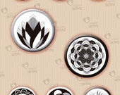 "Collage sheet 1 inch circle ""Black & White Flowers"" (1BWNC02) - 48 images of flowers for resin or glass tiles, magnets, jewelry, etc."